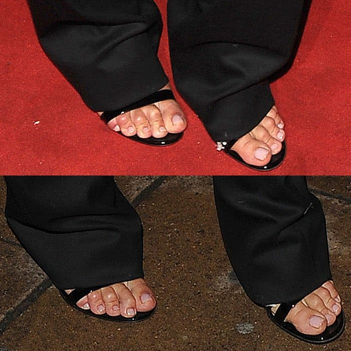 Closeup of Rosie Huntington-Whiteley's scrunched-up toes