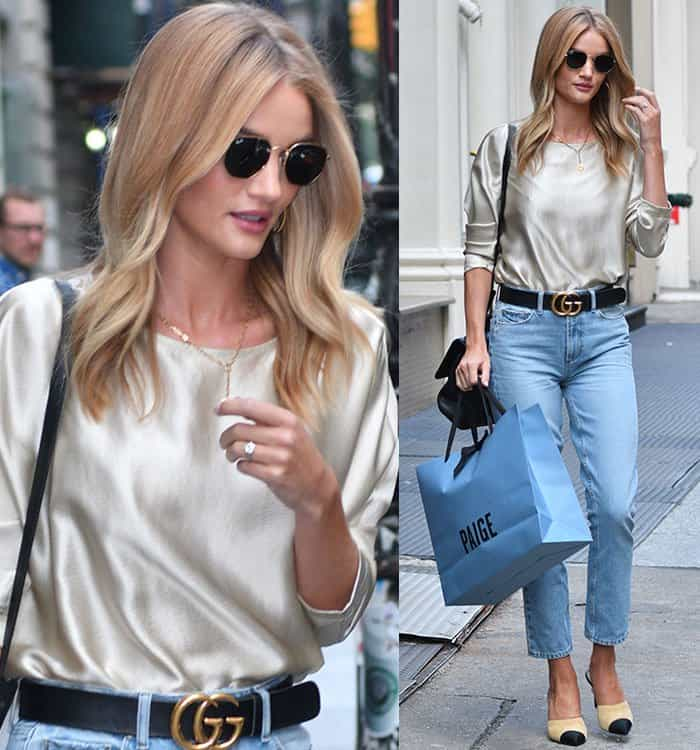 Rosie Huntington-Whiteley highlighted her slender physique with a wide Gucci belt