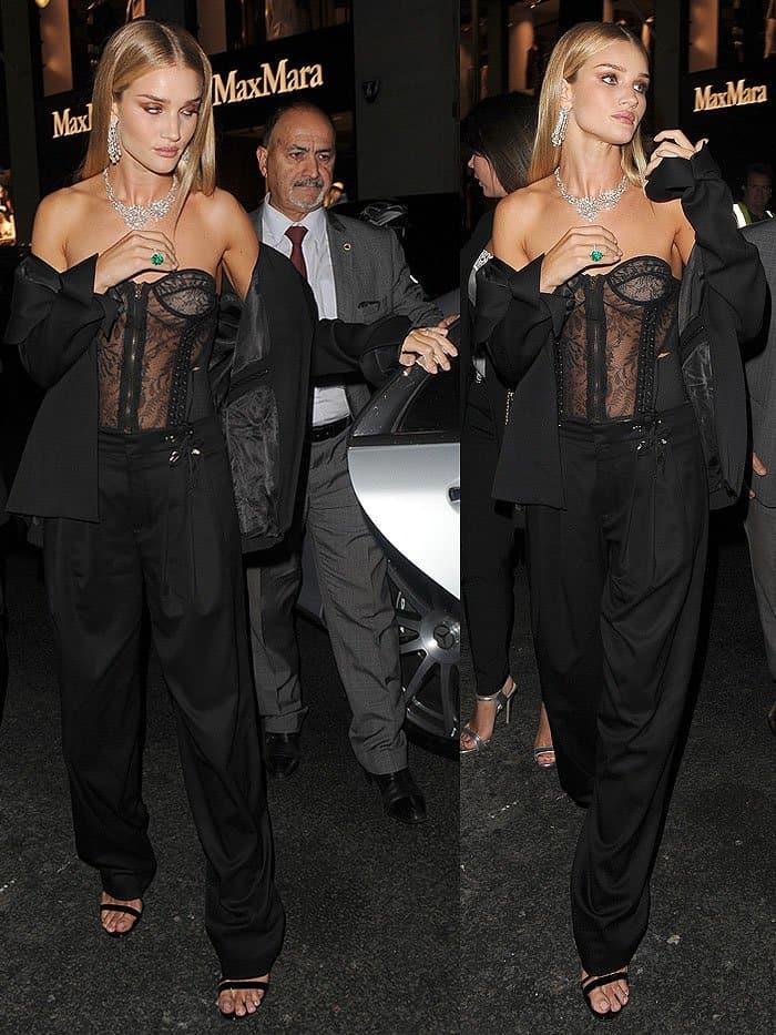 Rosie Huntington-Whiteley rocked Anthony Vaccarello elasticated detailing wide-legged trousers
