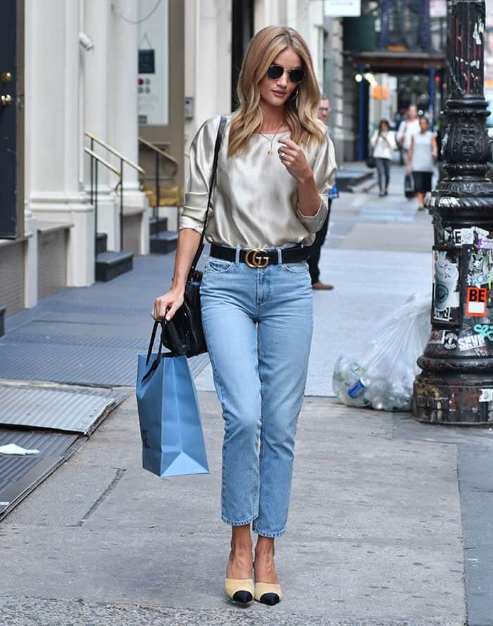 Rosie Huntington-Whiteley rocks light blue jeans to go shopping