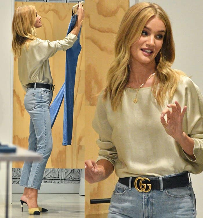 Rosie Huntington-Whiteley in a Nili Lotan top and cropped jeans