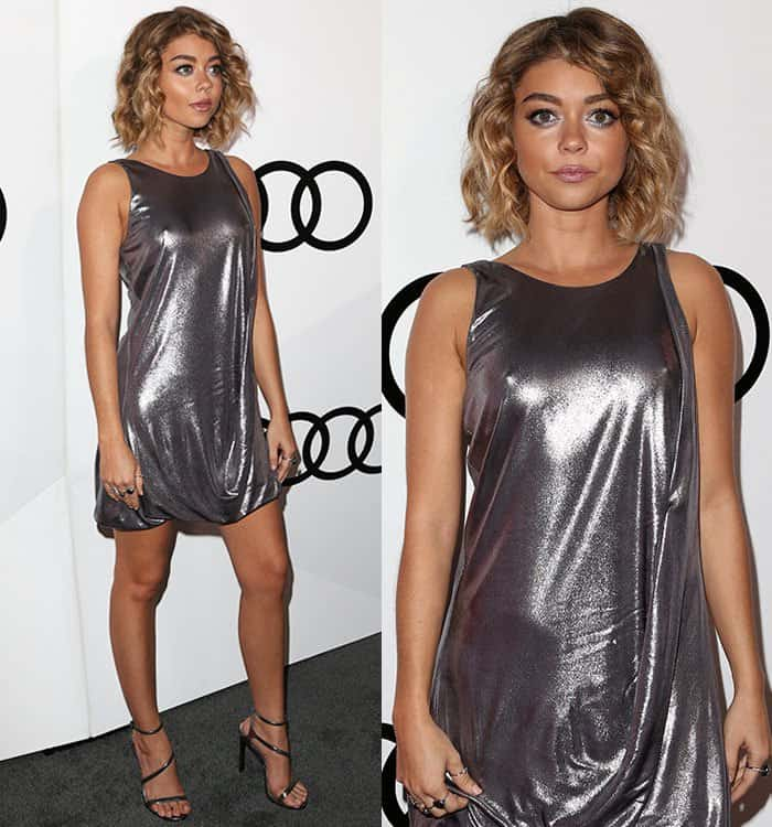 sarah-hyland-halston-heritage-metallic-silver-drape-dress