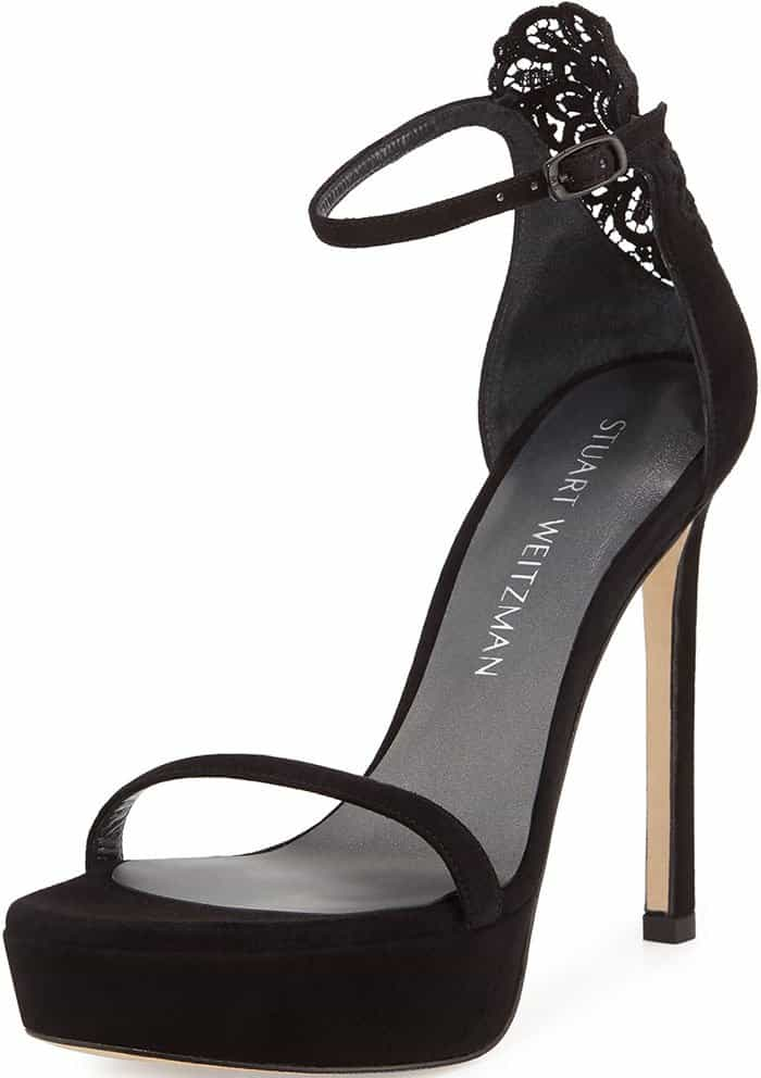 Stuart Weitzman Applique Suede Platform Sandals