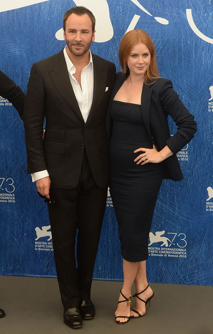 "Tom Ford and Amy Adams at the ""Nocturnal Animals"" photo call in Venice, Italy"