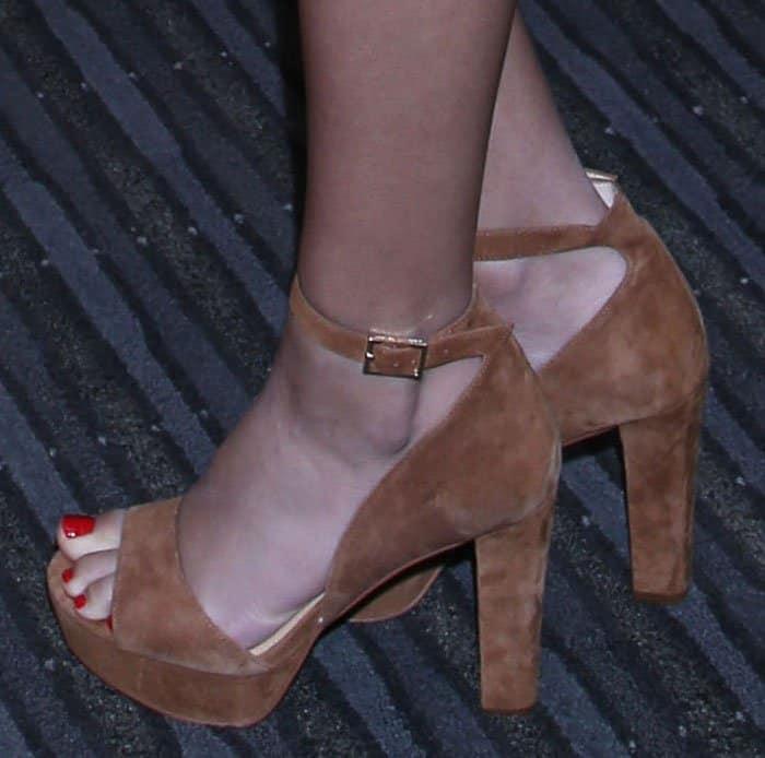 victoria-justice-prada-tan-suede-sandals