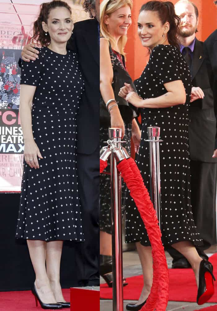 Winona Ryder at Tim Burton's hand and footprint ceremony in Los Angeles