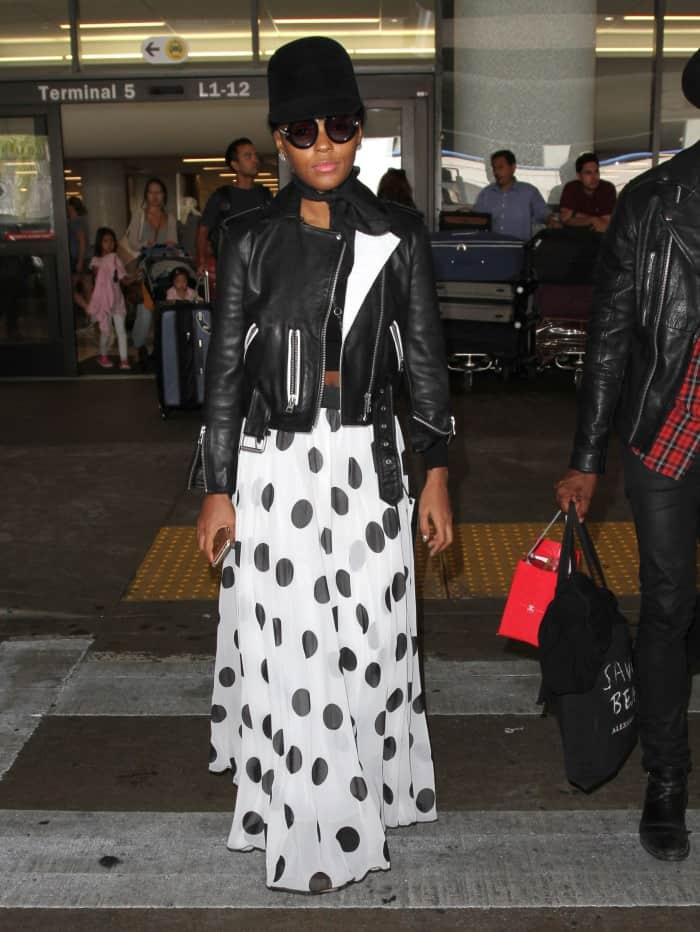 Janelle Monáe arrives at Los Angeles International (LAX) Airport