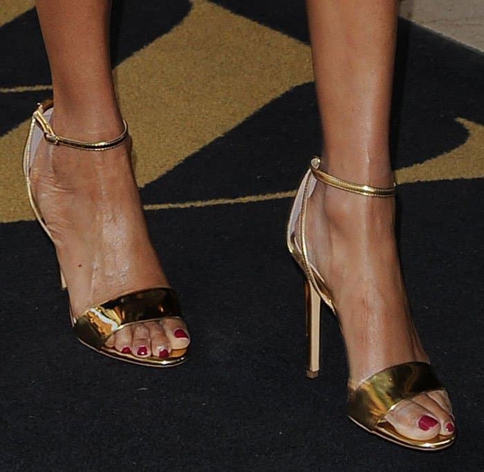 alesha-dixon-gold-ankle-strap-sandals