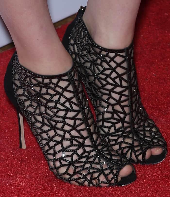 Alexandra Daddario wearing Sergio Rossi Tresor booties