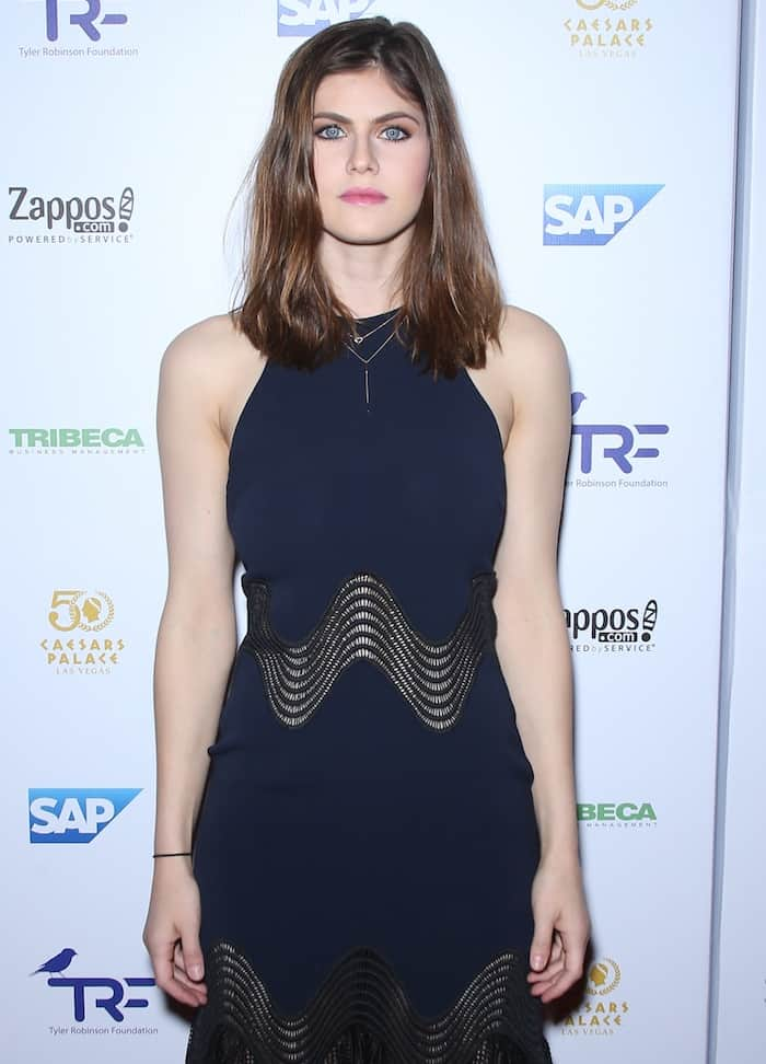 Alexandra Daddario attends the Slay Cancer with Dragons event in Las Vegas wearing Sergio Rossi Tresor booties on September 30, 2016