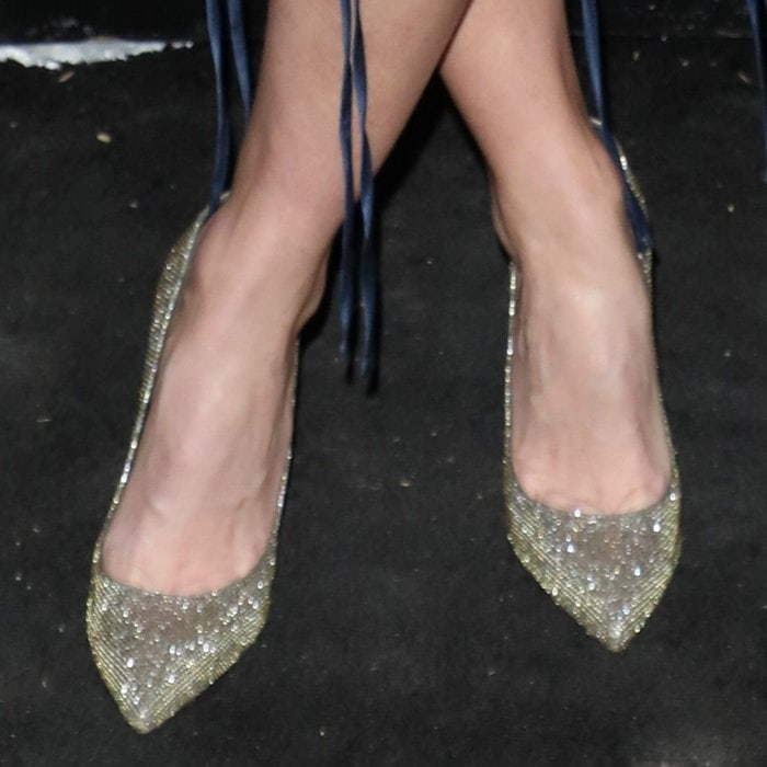 Alice Eve shows off her feet in glitter pumps by Nicholas Kirkwood