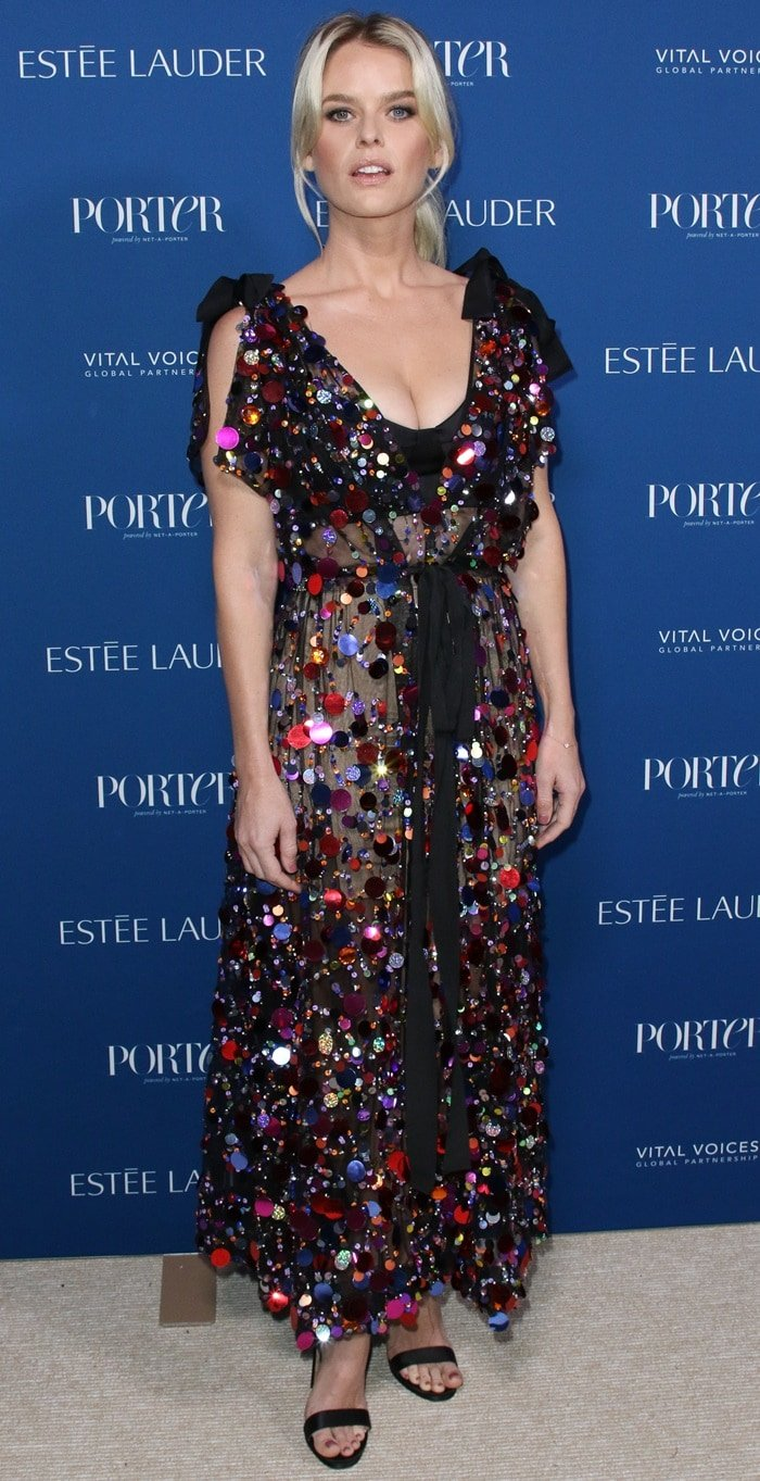 Alice Eve's allover confetti embellished dress at the Porter Incredible Women Gala 2018 held at Ebell in Los Angeles on October 9, 2018