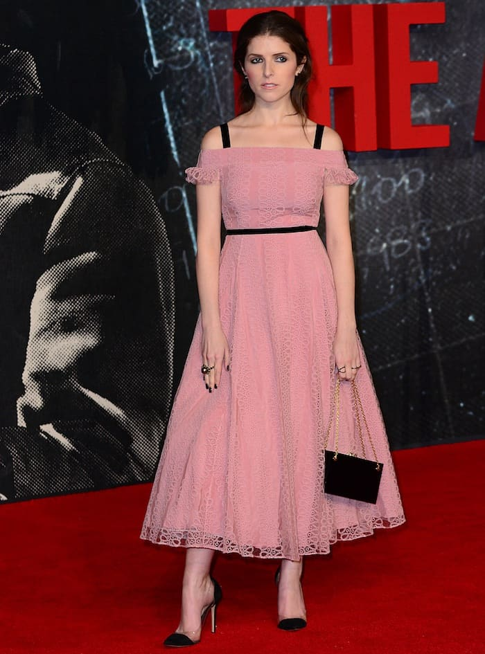 Anna Kendrick in a pale pink off-the-shoulder midi dress from the Burberry Fall 2016 collection featuring a full skirt