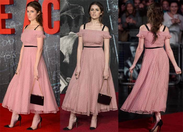 """Anna Kendrick in a pale pink midi dress for the European premiere of """"The Accountant"""""""