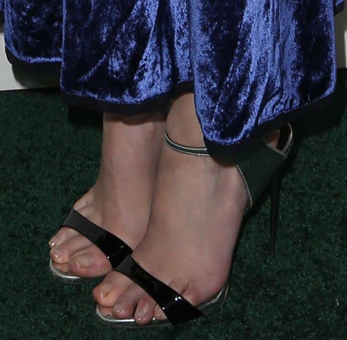 Anna Kendrick shows off her feet in Giuseppe Zanotti heels