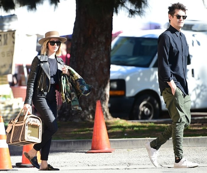 Ashley Tisdale and her husband Christopher French visit the Farmers Market with their dog