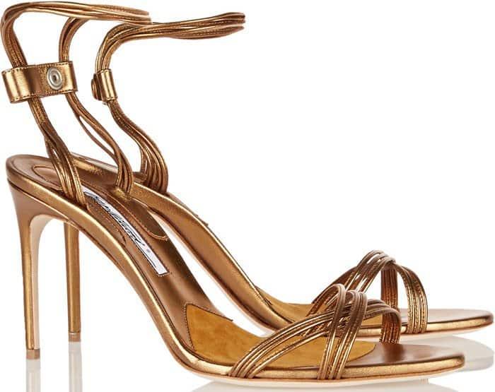 Brian Atwood 'Alexis' Metallic Leather Almond-Toe Sandals