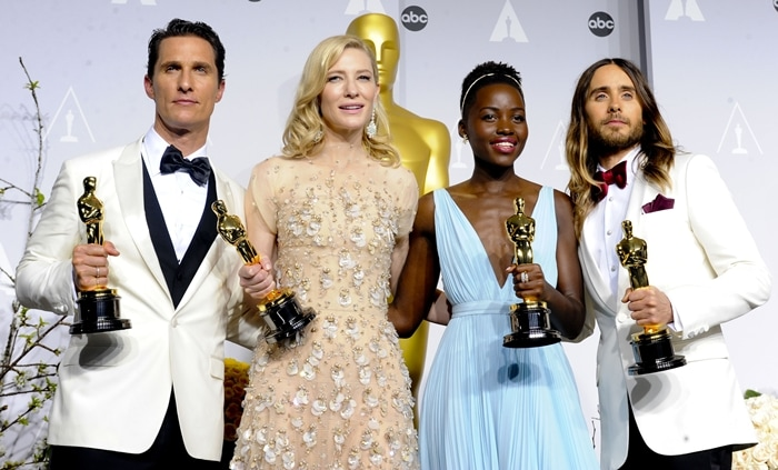 Matthew McConaughey (l-r), Cate Blanchett, Lupita Nyong'o and Jared Leto pose in the press room of the 86th Academy Awards