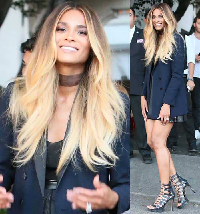 ciara-black-leather-mini-skirt-akris-navy-blazer