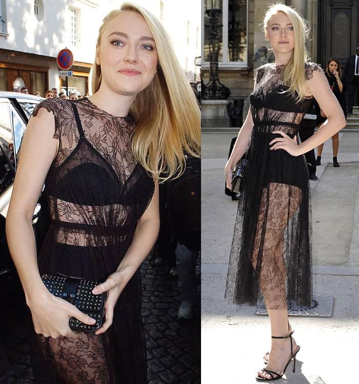Dakota Fanning revealed her underwear in asheer lace dress