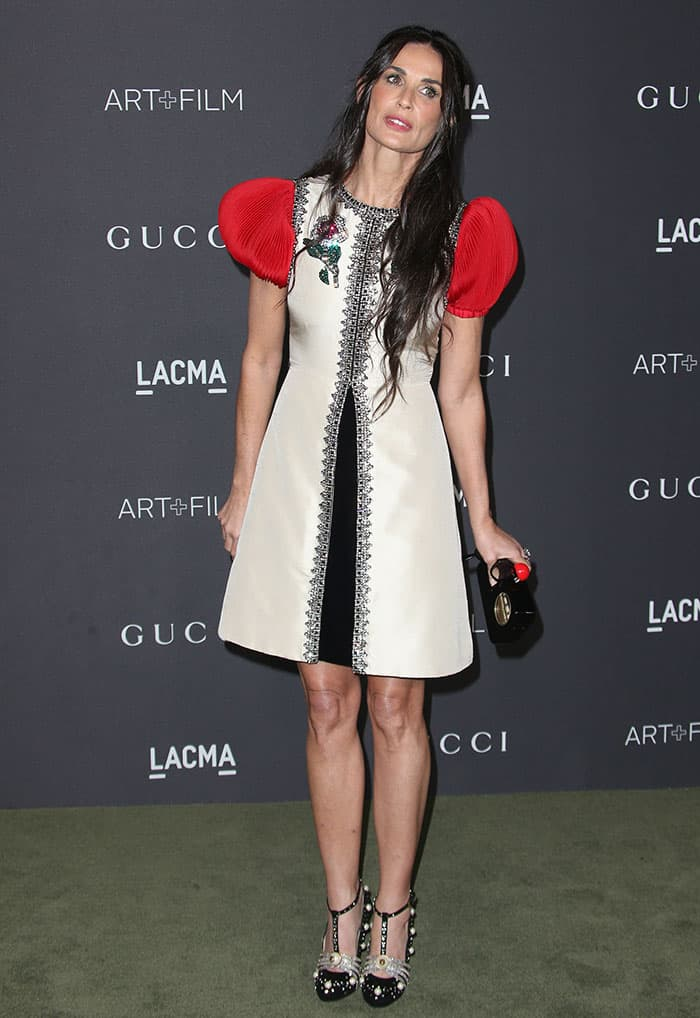 demi-moore-gucci-dress-heels