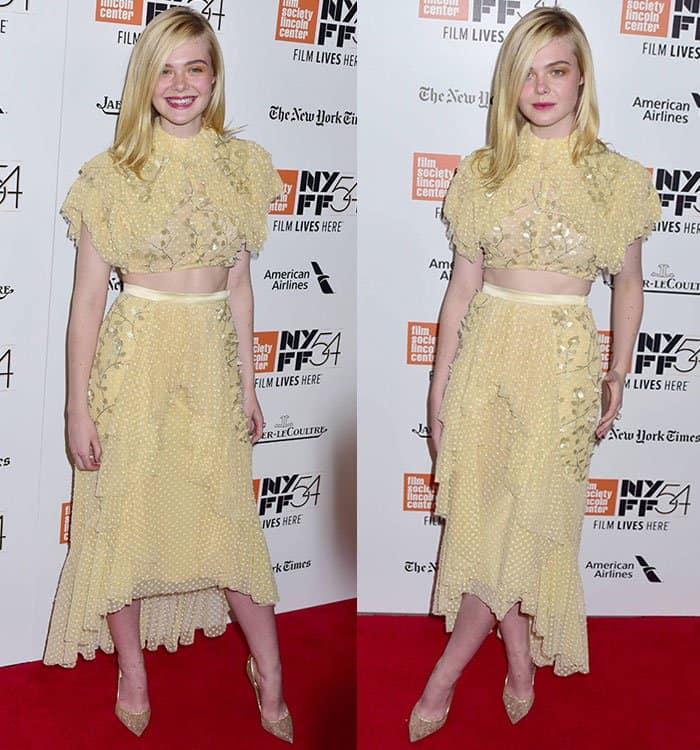 elle-fanning-midriff-yellow-crop-top-skirt