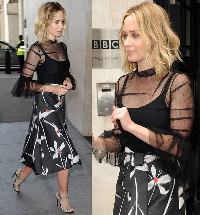 Emily Blunt wore a black tank top underneath her quarter-sleeved see-through top