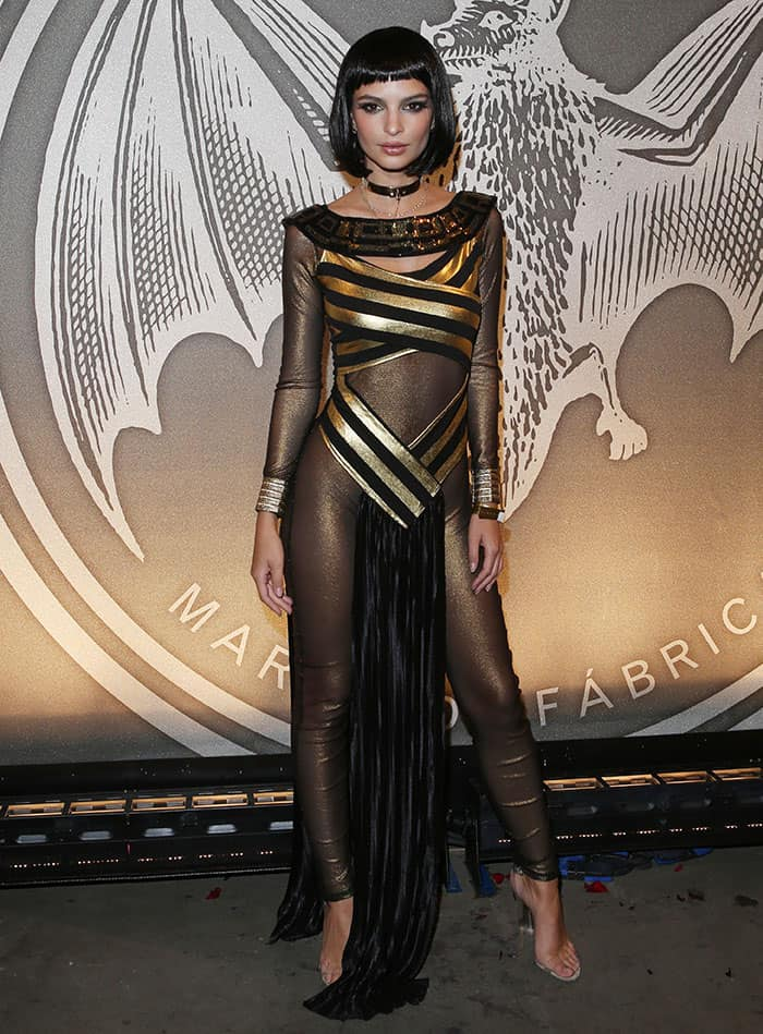 Emily Ratajkowski channeled a sexy Cleopatra in skintight semi-sheer gold catsuit by Yandy