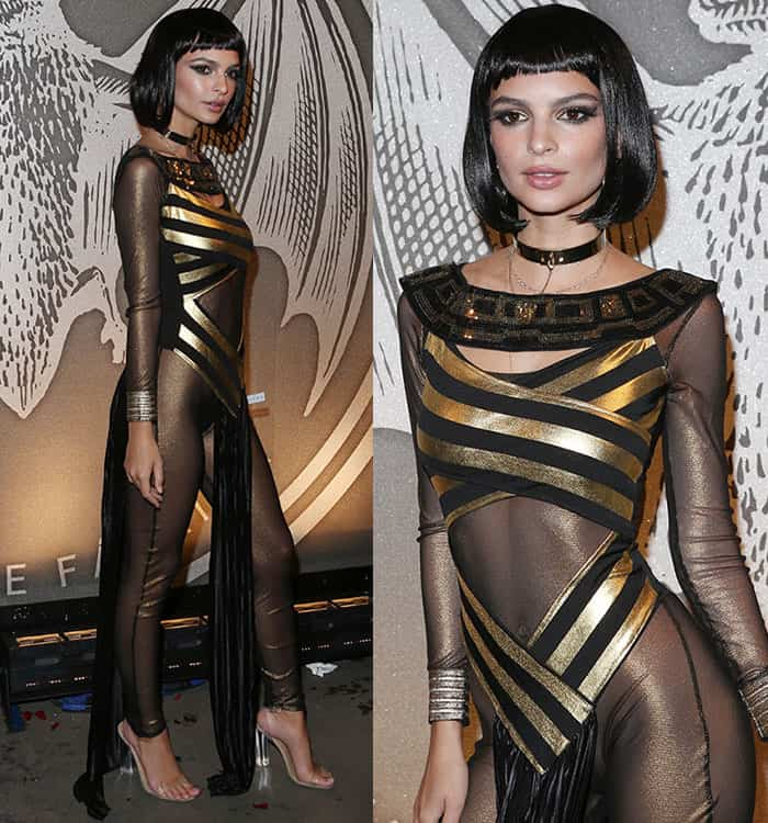 "Emily Ratajkowski in sexy Egyptian costume at BACARDÍ x Kenzo Digital ""We Are The Night"" Halloween Party in Brooklyn, New York City on October 29, 2016"