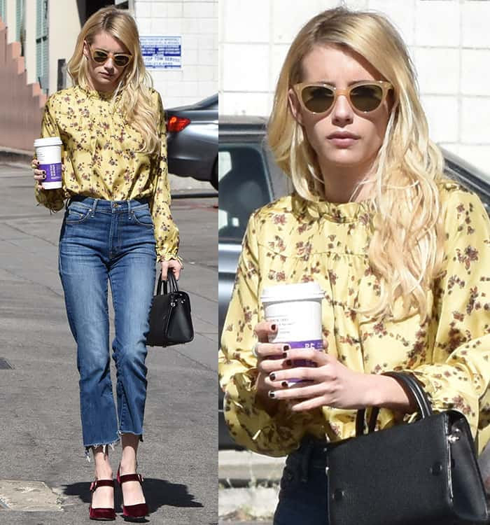 Emma Roberts in Wilfred for Aritzia blouse and Mother jeans