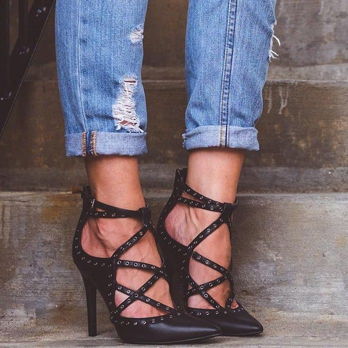 Farrell Caged Heels With Metal Eyelets Throughout