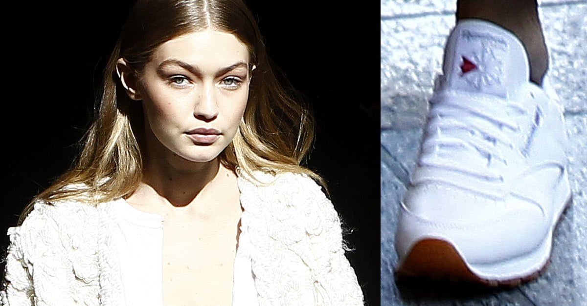 Gigi Hadid Leaves Paris Fashion Week in Reebok  Classic  Sneakers 3fed37394