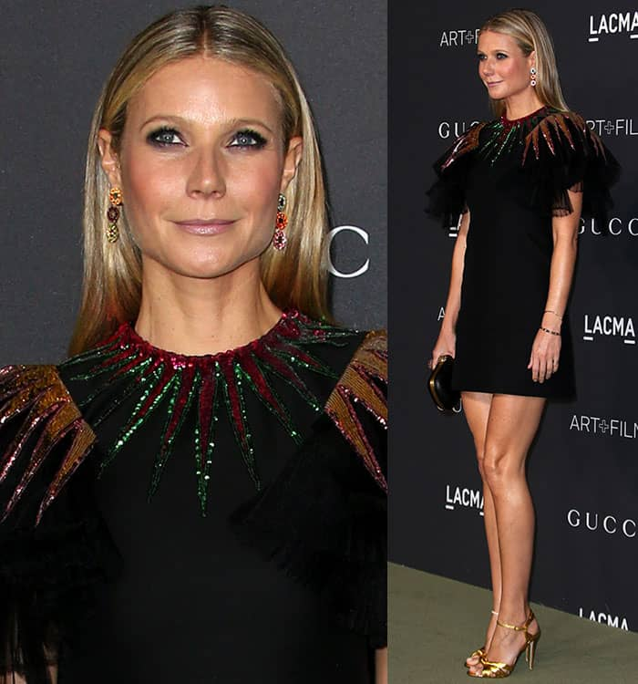 gwyneth-paltrow-gucci-black-dress-tulle-sleeves-sequined-neck
