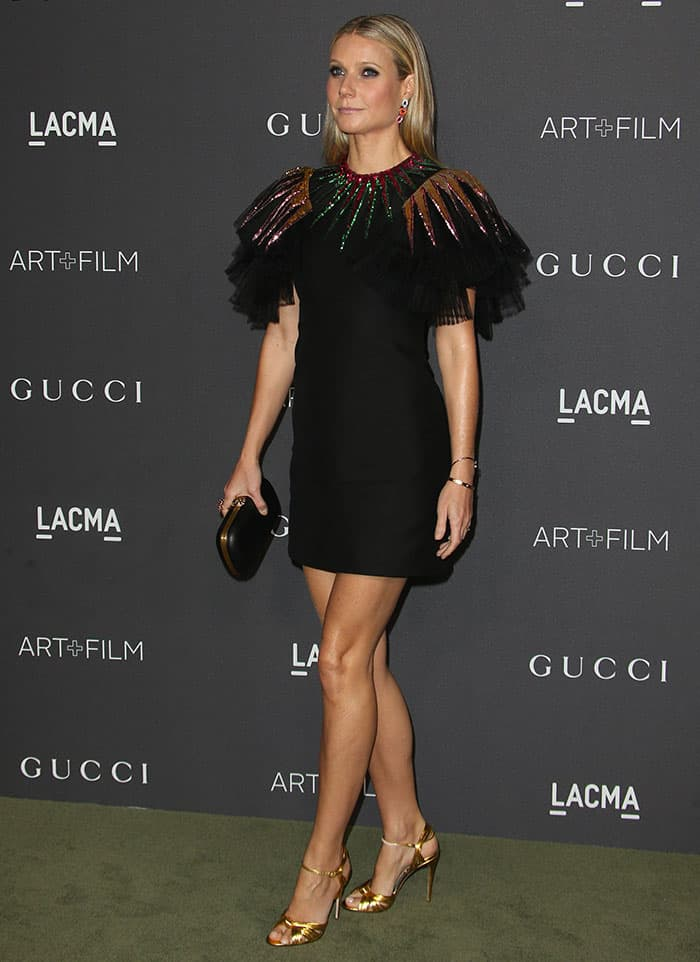Gwyneth Paltrow In Festive Gucci Lbd And Knotted Allie Heels