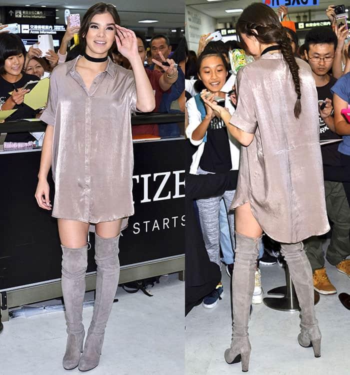 Hailee Steinfeld In Thigh Skimming Shirt Dress And