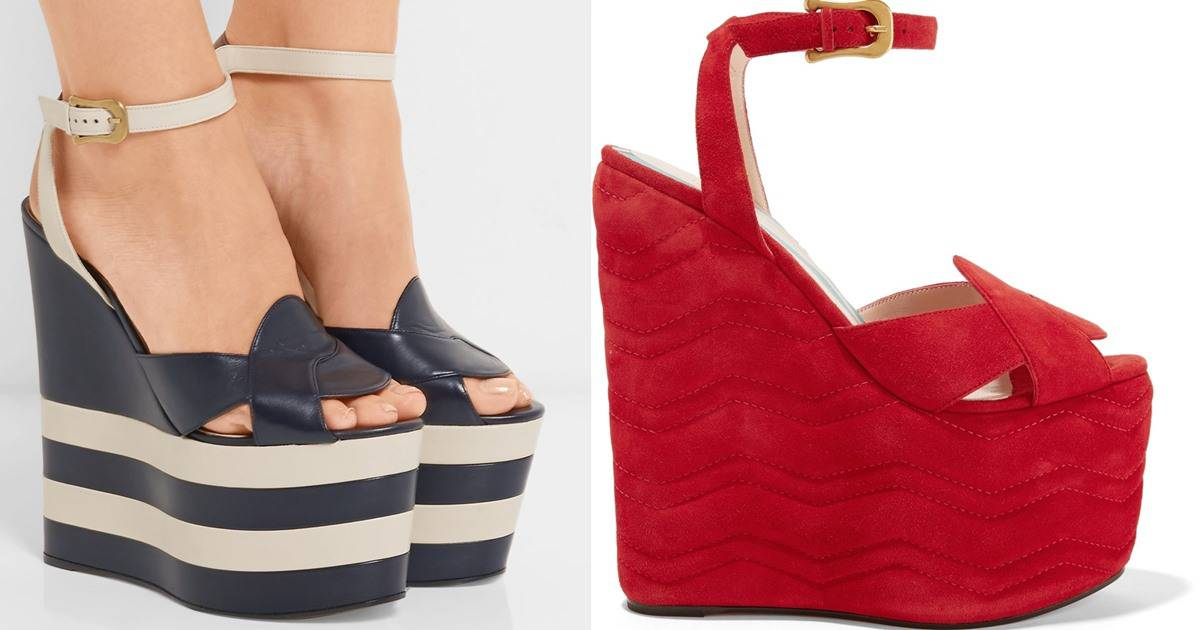 Insanely High Gucci Wedge Sandals with