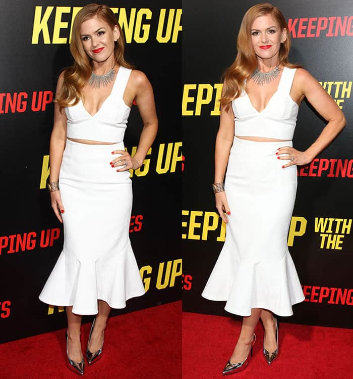 isla-fisher-white-two-piece-outfit-silver-heels