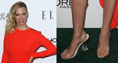 0c53158c914 Yikes! January Jones with Toe Overhang in Kanye s Clear Perspex Sandals