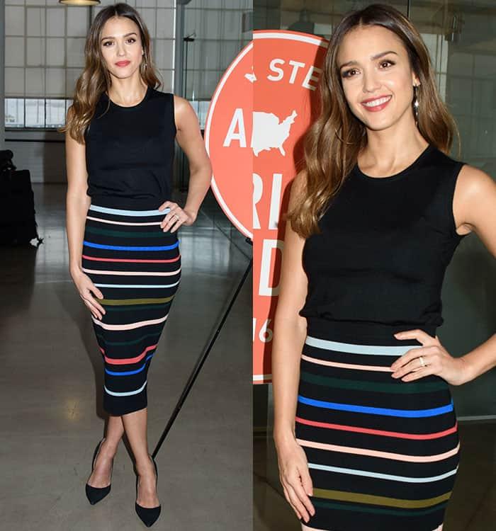 jessica-alba-black-sleeveless-top-lela-rose-striped-skirt