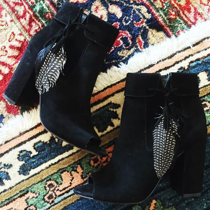 Jessica Simpson 'Kailey' Feather Charm Peep Toe Booties