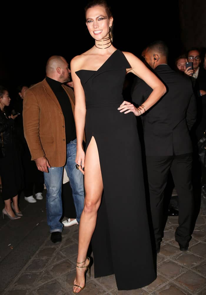 Karlie wears yet another origami-inspired creation by Brandon Maxwell