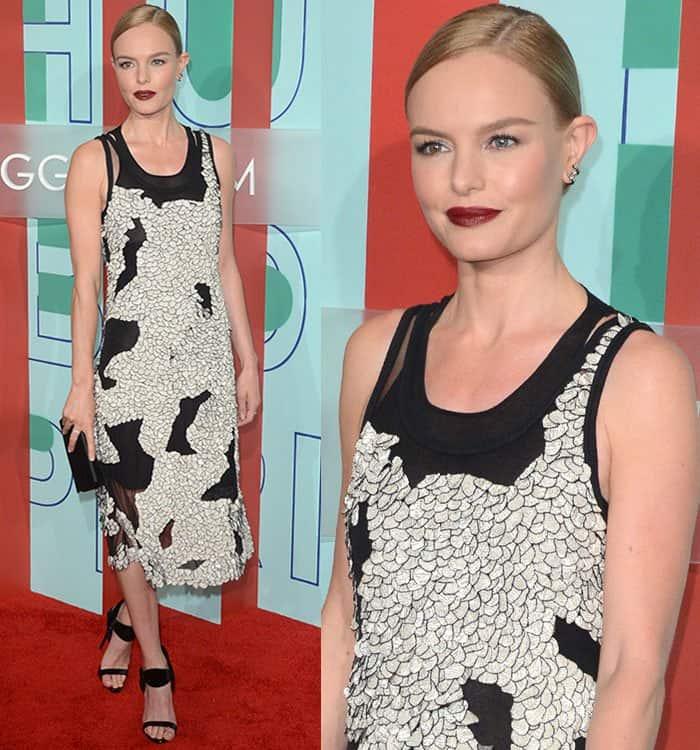 kate-bosworth-boss-black-white-mesh-cutout-dress