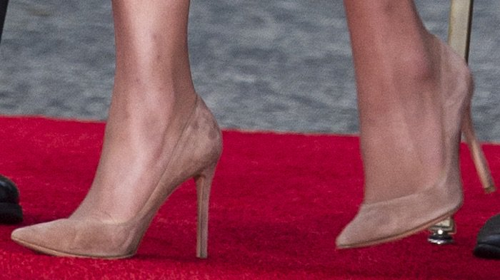 Kate Middleton's feet in suede Gianvito Rossi pumps