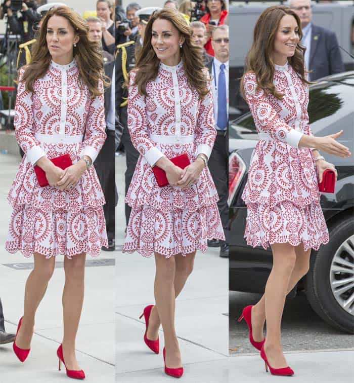 "Kate Middleton's Alexander McQueen dress paired with Russell & Bromley ""Pinpoint"" pumps"