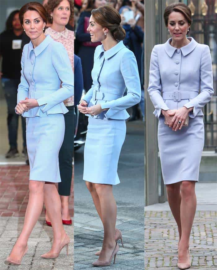 Kate Middleton flaunts her legs ina powder blue peplum suit by Catherine Walker