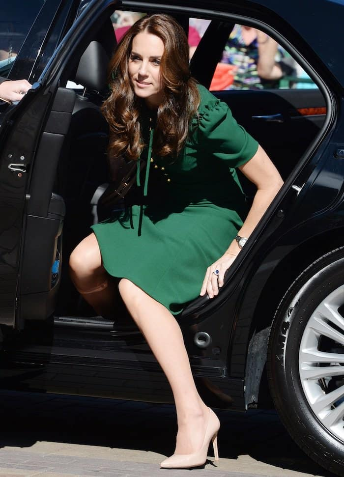 Kate Middleton in a Dolce & Gabbana dress paired with L.K. Bennett Fern pumps to visit the University of British Columbia on September 27, 2016