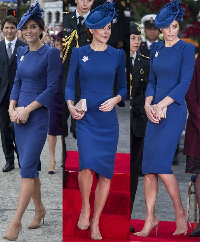 Kate Middleton arrived in Canada to kickstart her Royal Canadian Tour on September 24, 2016, in suede Gianvito Rossi pumps