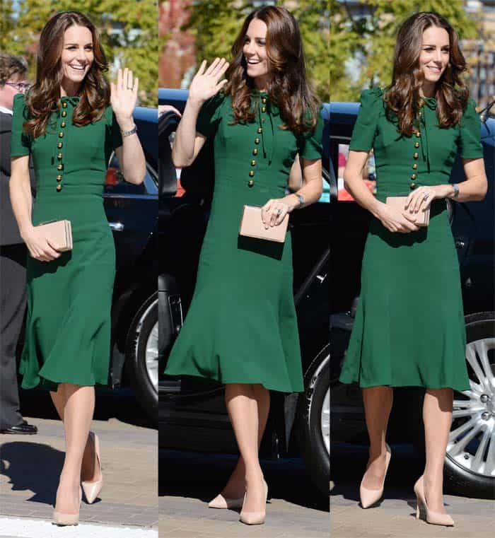 "Kate Middleton in a Dolce & Gabbana dress paired with L.K. Bennett ""Fern"" pumps to visit the University of British Columbia on September 27, 2016"