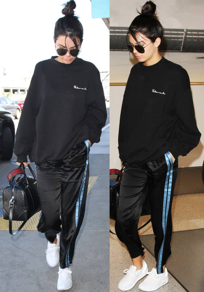 Model-off-duty: Kendall arrives at the airport in sweats sans makeup