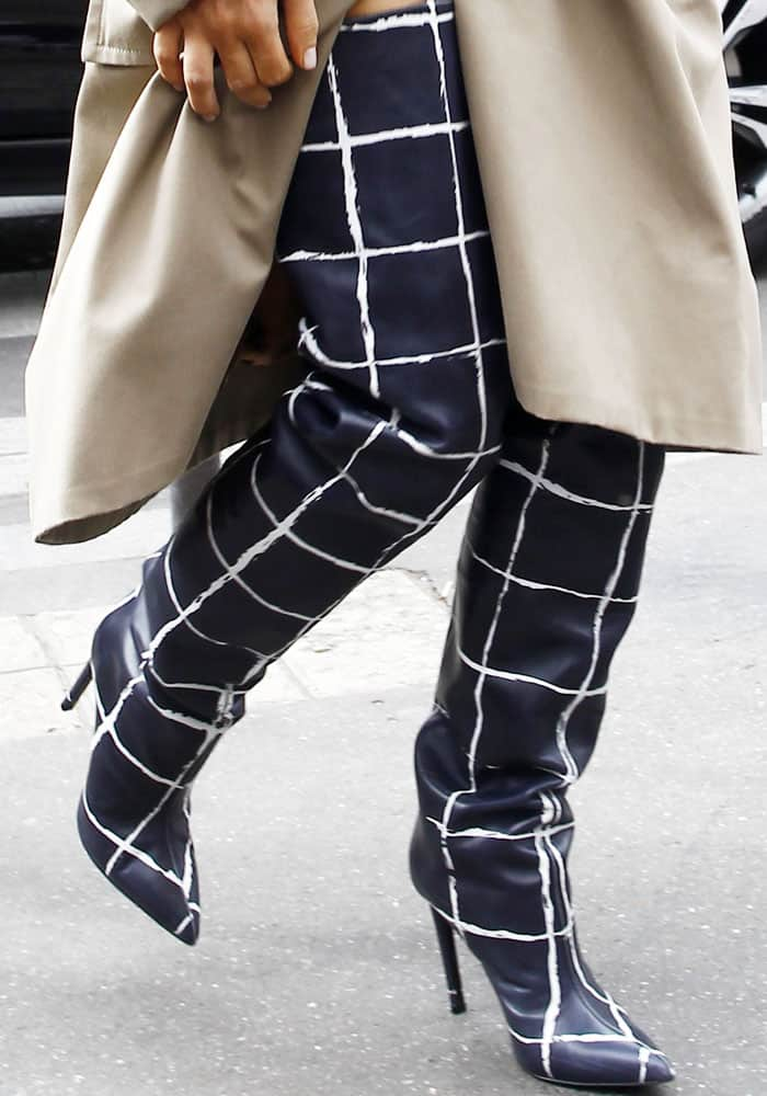 Kim Kardashian in Printed Thigh High Balenciaga Boots